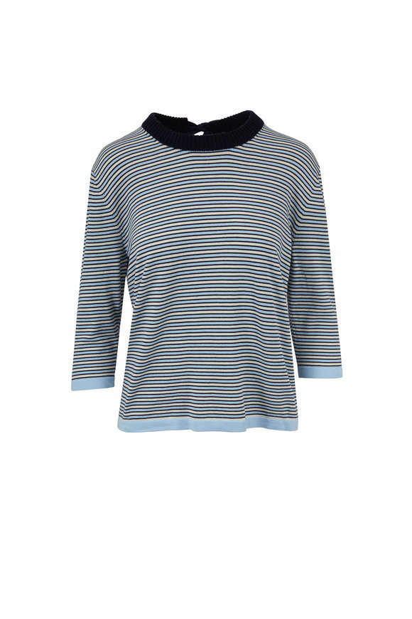 Chinti & Parker Navy, Blue & Cream Striped Tie Back Sweater