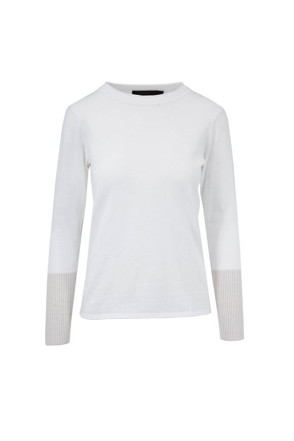 Raffi  White Contrast Cuffed Sweater