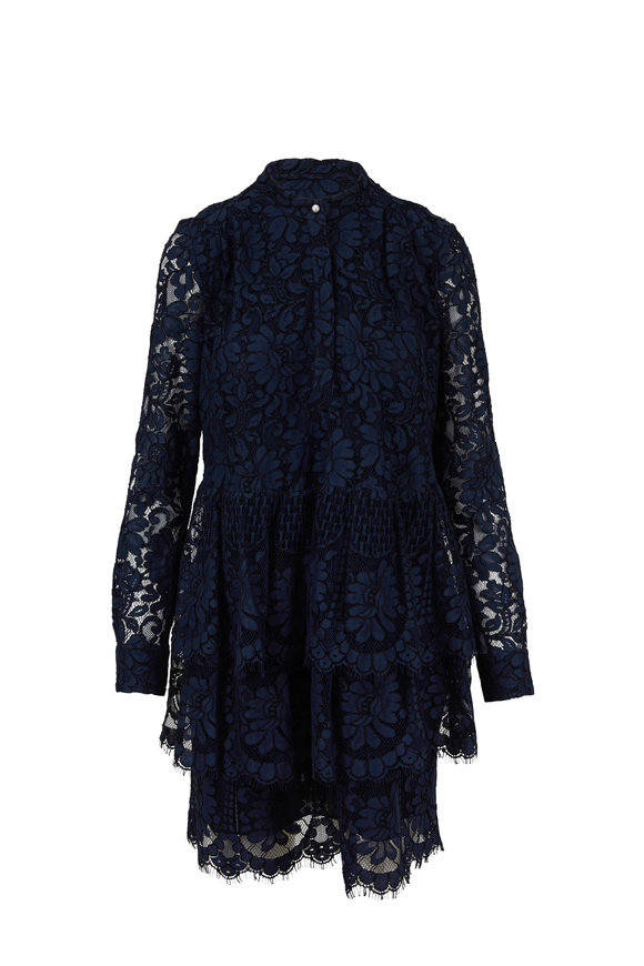 Adam Lippes Navy Lace Tiered Ruffled Hem Long Sleeve Dress