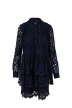 Adam Lippes - Navy Lace Tiered Ruffled Hem Long Sleeve Dress