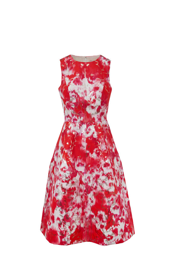 Carolina Herrera Hibiscus Floral Print A-Line Sleeveless Dress