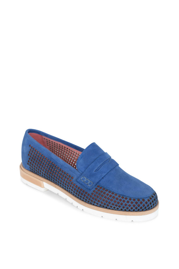 Pas de Rouge Blue Suede Perforated Penny Loafers