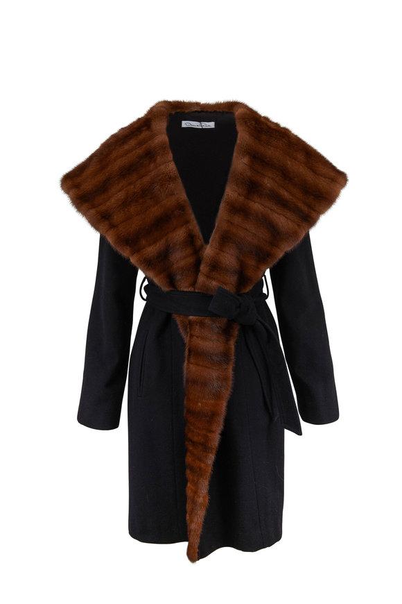 Oscar de la Renta Furs Black & Natural Cashmere & Mink Trim Coat