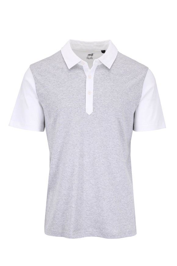 Raffi  Gray & White Colorblock Polo
