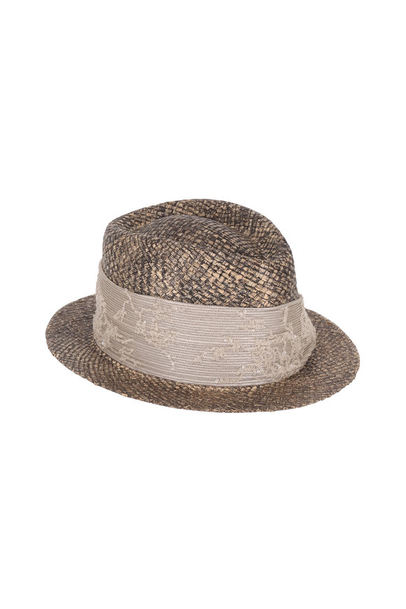 Brunello Cucinelli Latte Straw & Floral Paillette Satin Trim Hat