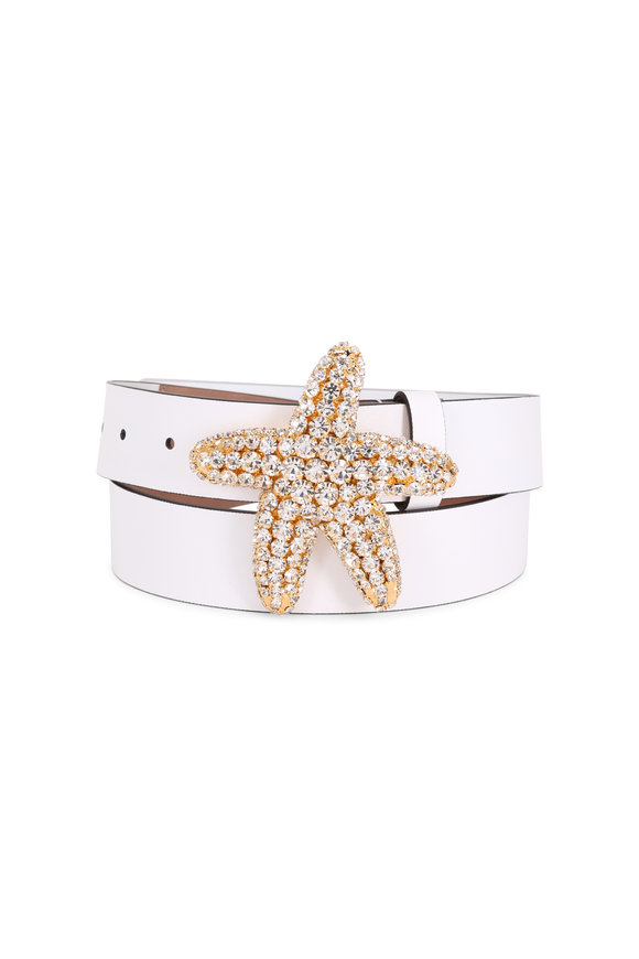 Michael Kors Collection Optic White Leather Starfish Crystal Belt