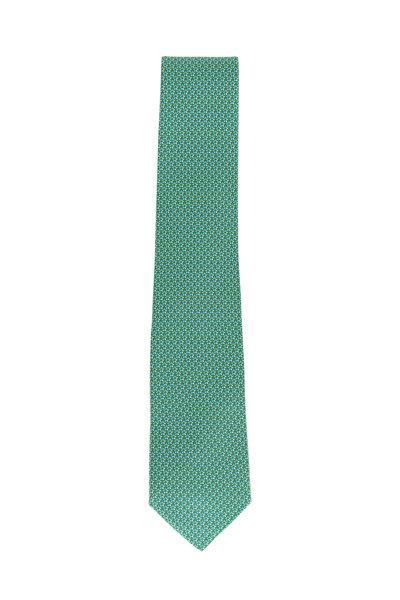 Salvatore Ferragamo - Green Star Printed Silk Necktie