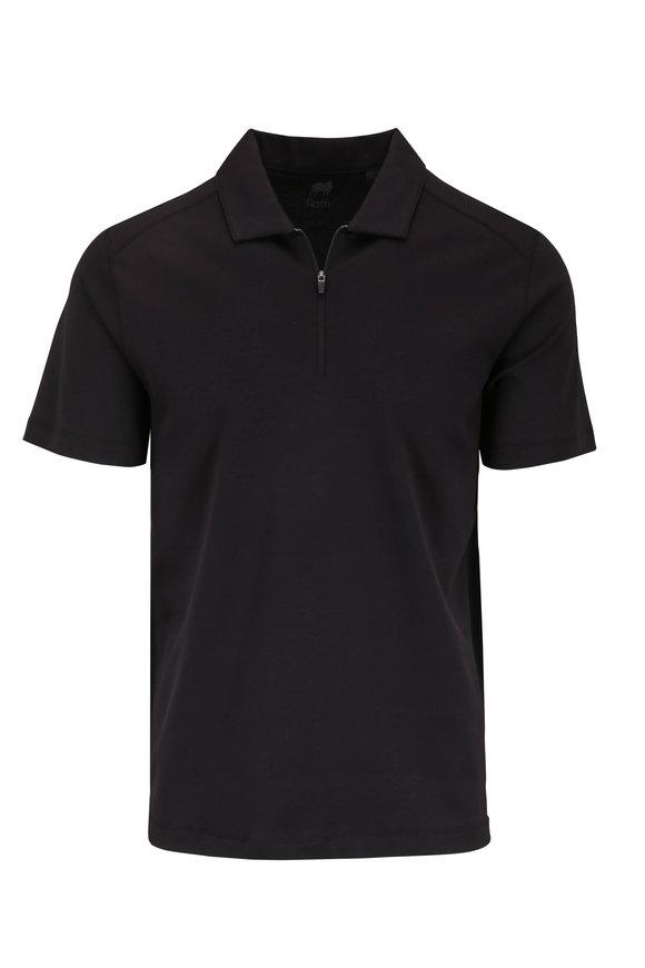 Raffi  Black Cotton Quarter-Zip Polo