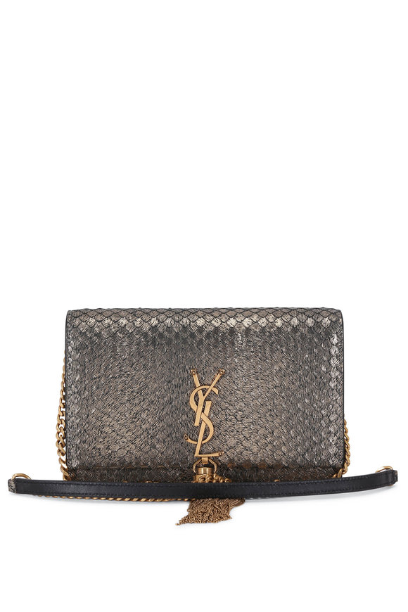 Saint Laurent Kate Gold Metallic Textured Suede Chain Crossbody