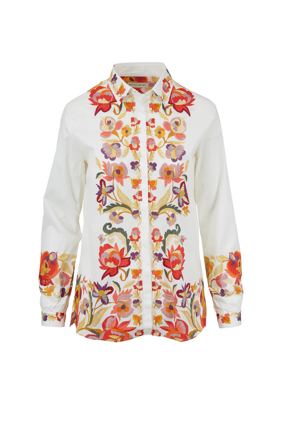 Etro White Autumn Flowers Printed Button Down Shirt