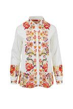 Etro - White Autumn Flowers Printed Button Down Shirt