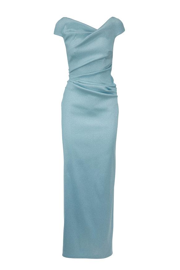 Talbot Runhof Roya4 Seafoam Sparkle Cap Sleeve Gown