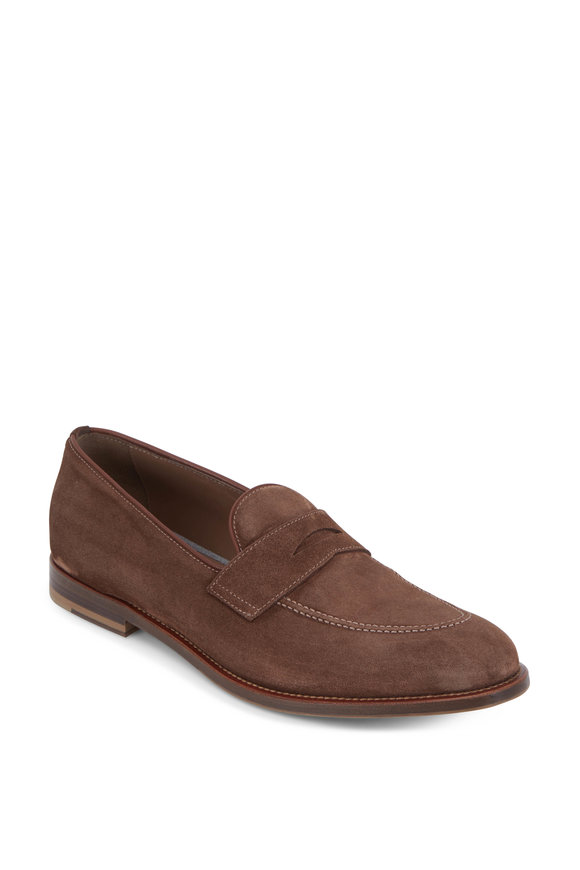 Brunello Cucinelli Chocolate Brown Suede Penny Loafer
