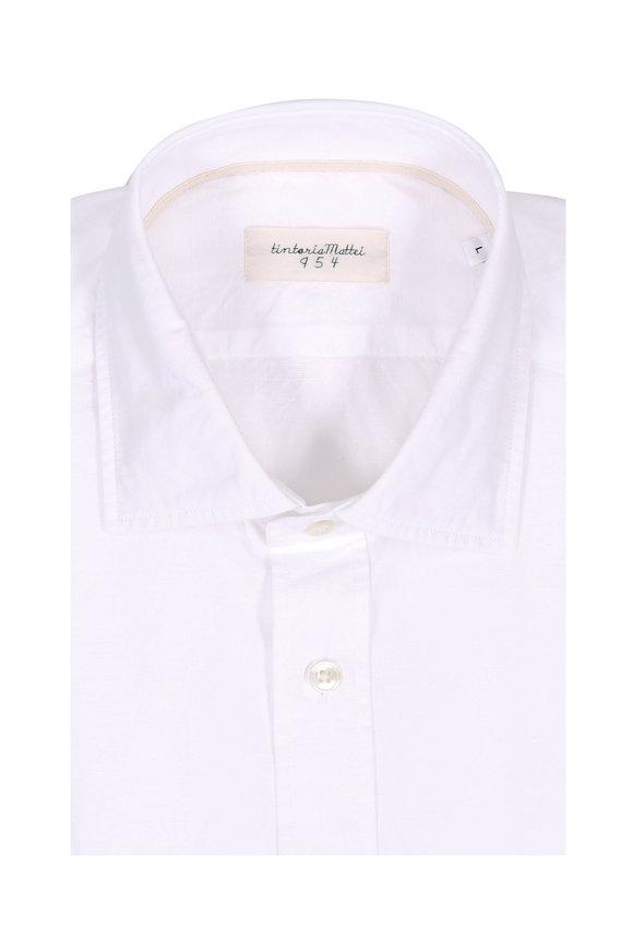 Tintoria White Floral Jacquard Contemporary Sport Shirt