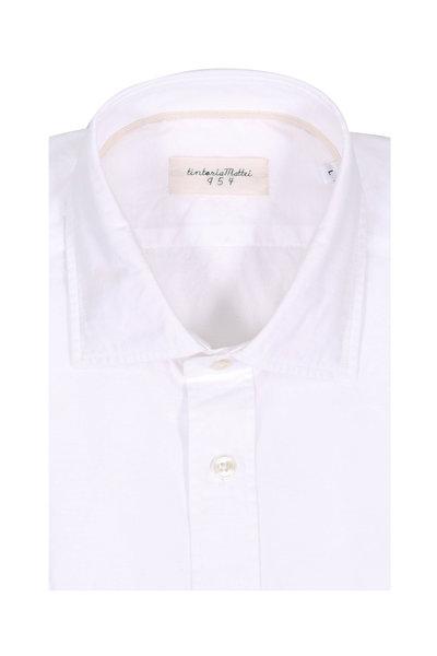 Tintoria - White Floral Jacquard Contemporary Sport Shirt