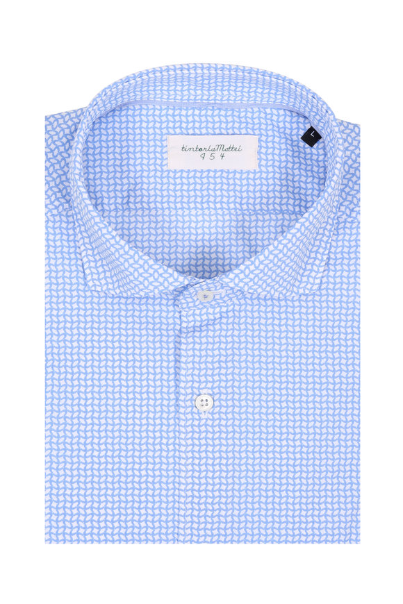 Tintoria Light Blue Geometric Contemporary Fit Sport Shirt
