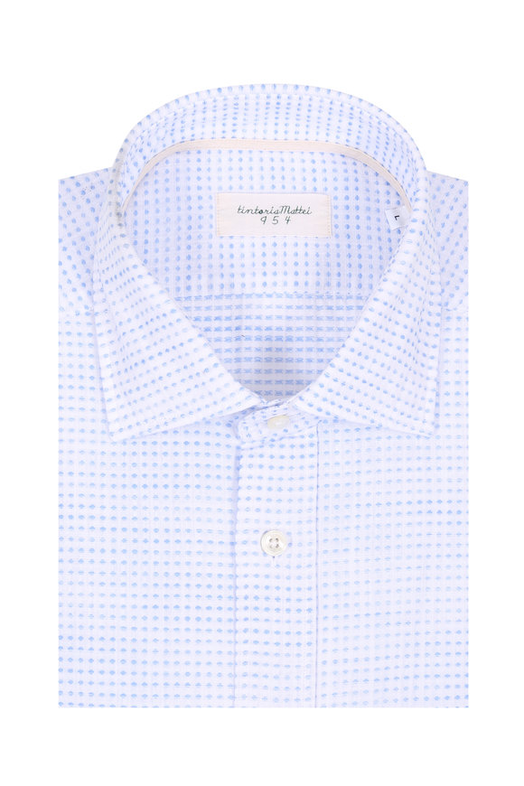 Tintoria Light Blue Textured Contemporary Fit Sport Shirt