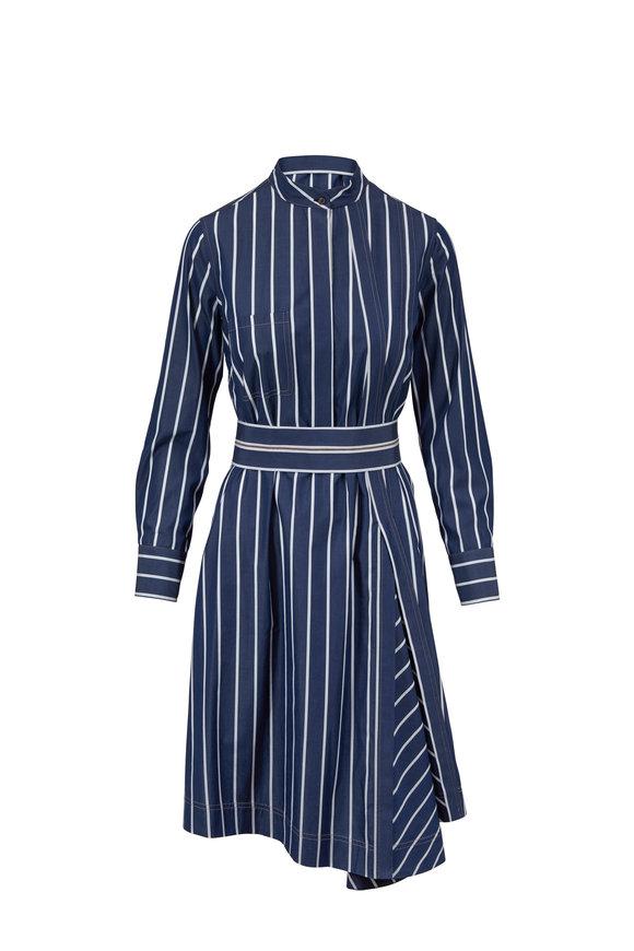 Brunello Cucinelli Blue & White Striped Poplin Shirtdress