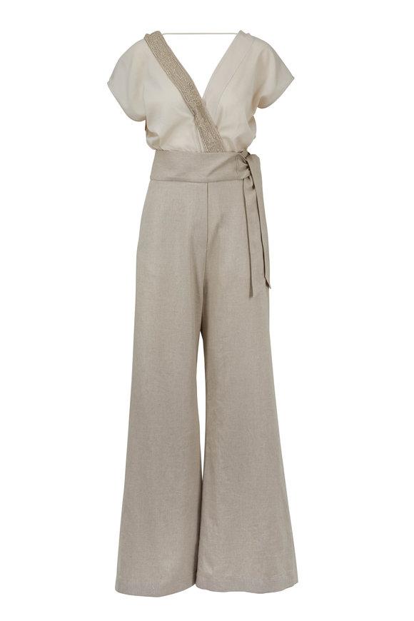 Brunello Cucinelli Latte Paillette Top & Contrast Linen Jumpsuit