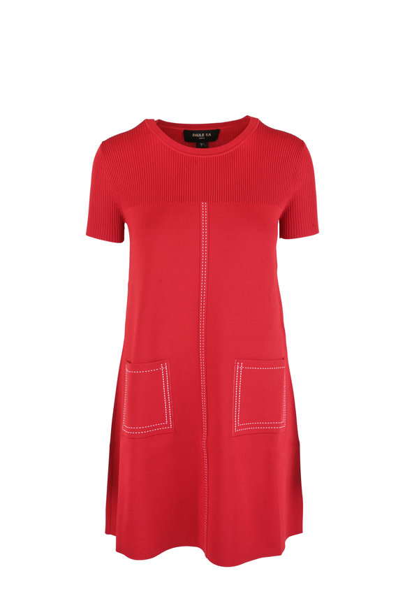 Paule Ka Red Knit Patch Pocket Short Sleeve Dress