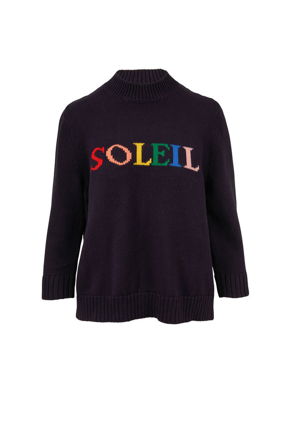 Chinti & Parker Navy Cotton Rainbow Soleil Sweater