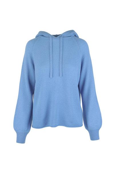 Vince - Blue Cashmere Raglan Hooded Sweater