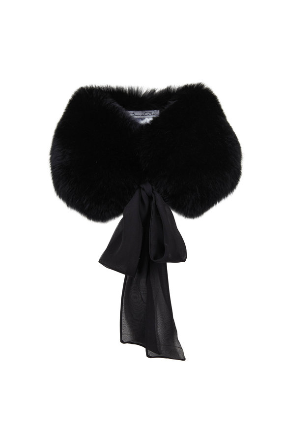 Oscar de la Renta Furs Black Shadow Fox Stole With Tie