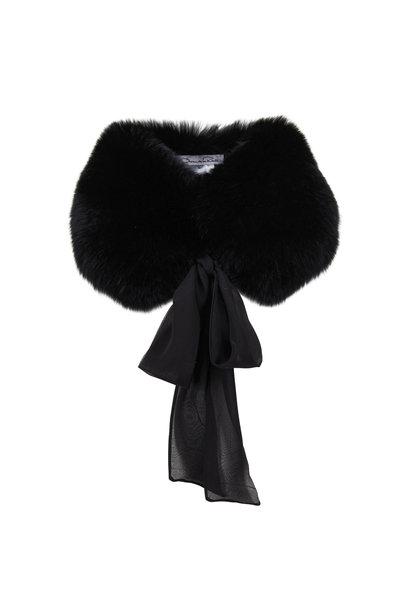 Oscar de la Renta Furs - Black Shadow Fox Stole With Tie
