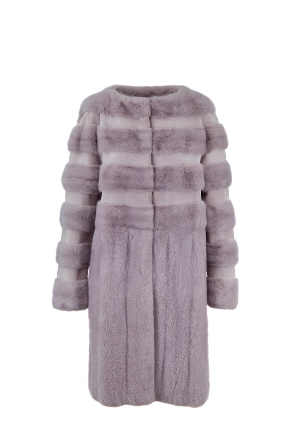 Oscar de la Renta Furs Dove Sheared Mink Horizontal Striped Coat