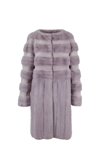 Oscar de la Renta Furs - Dove Sheared Mink Horizontal Striped Coat