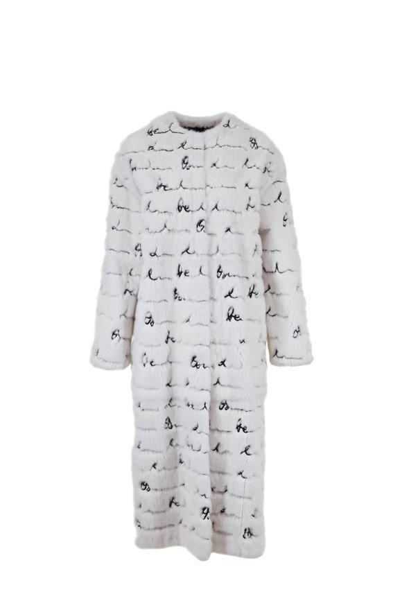 Oscar de la Renta Furs White Mink & Black Signature Sequin Coat