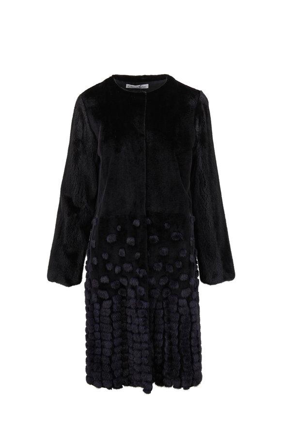 Oscar de la Renta Furs Midnight Blue & Black Sheared Mink Coat