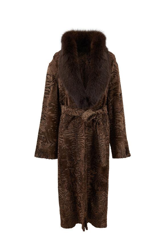 Oscar de la Renta Furs Mocha Swakara & Fox Trim Belted Swing Coat
