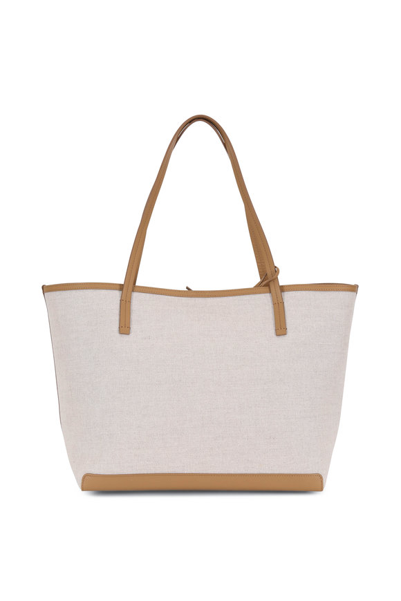The Row Natural & Brandy Canvas Park Tote