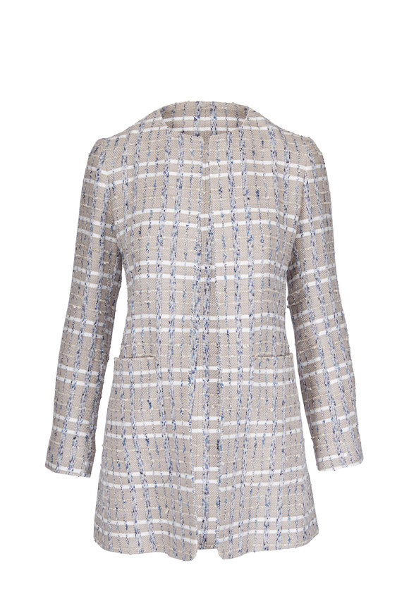 Kiton Taupe Tweed Patch Pocket Topper Coat