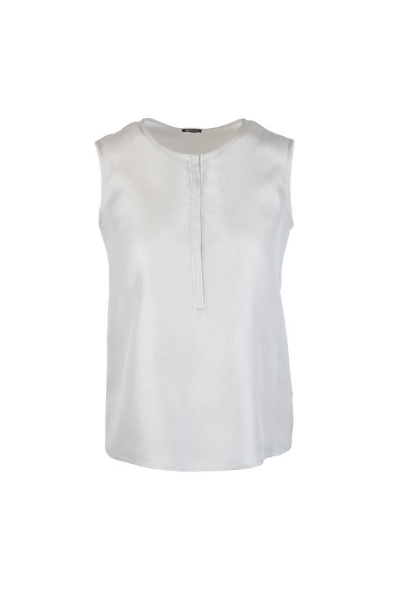 Kiton Ivory Silk Sleeveless Blouse