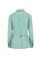 Akris Punto - Green & White Striped Drawstring Waist Blouse