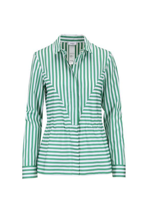 Akris Punto Green & White Striped Drawstring Waist Blouse
