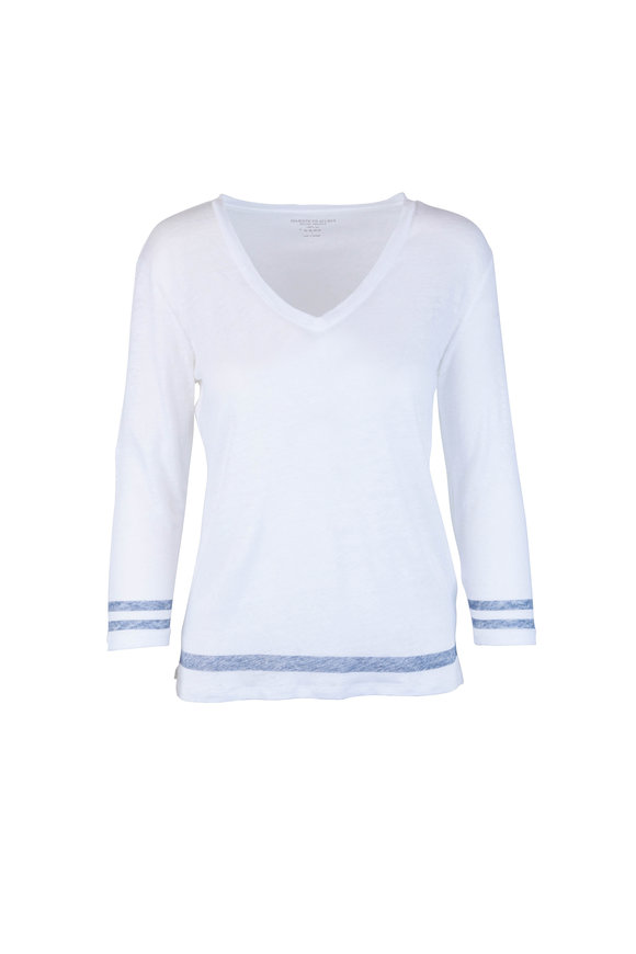 Majestic White Linen V-Neck Long Sleeve Top