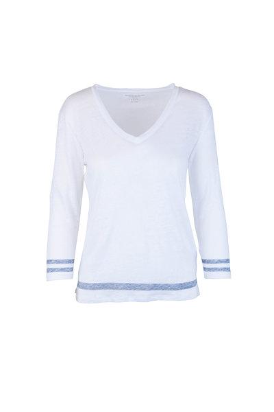 Majestic - White Linen V-Neck Long Sleeve Top