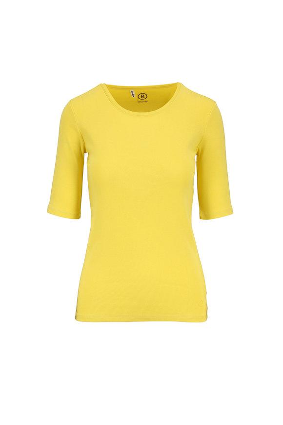 Bogner Velvet Yellow Cotton Elbow Sleeve T-Shirt