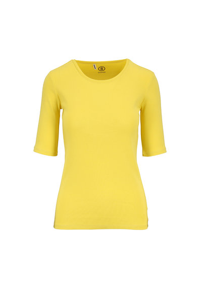 Bogner - Velvet Yellow Cotton Elbow Sleeve T-Shirt