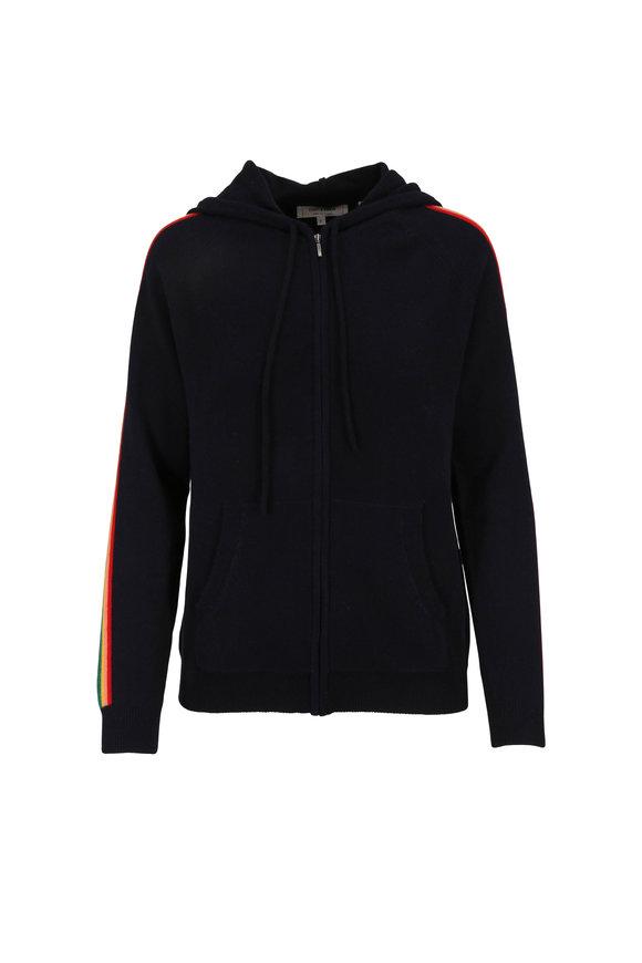 Chinti & Parker Navy Blue Cashmere Rainbow Stripe Zip Hoodie