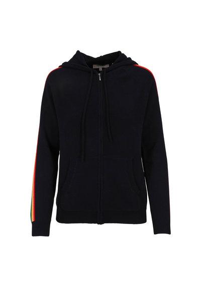 Chinti & Parker - Navy Blue Cashmere Rainbow Stripe Zip Hoodie
