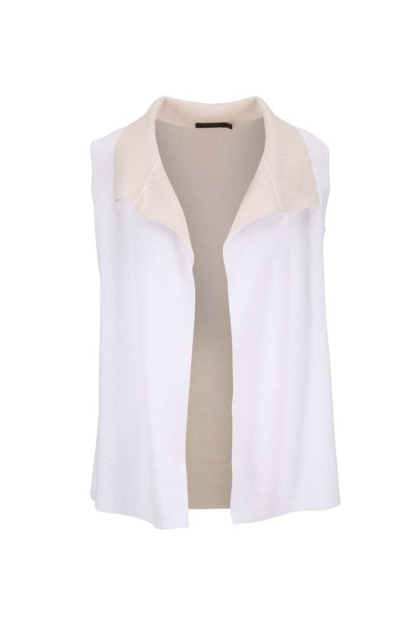 Raffi  White & Natural Sweater Knit Reversible Vest