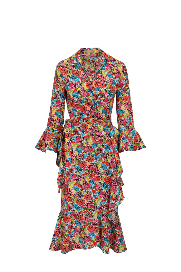Michael Kors Collection Floral Crepe De Chine Ruffled Wrap Dress