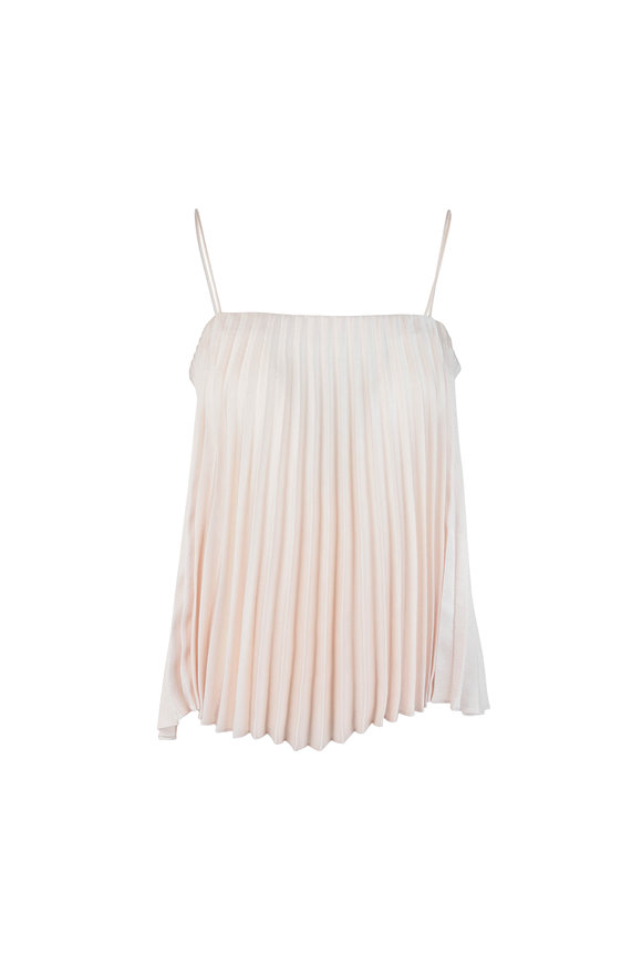 Vince Cream Pleated Sleeveless Blouse