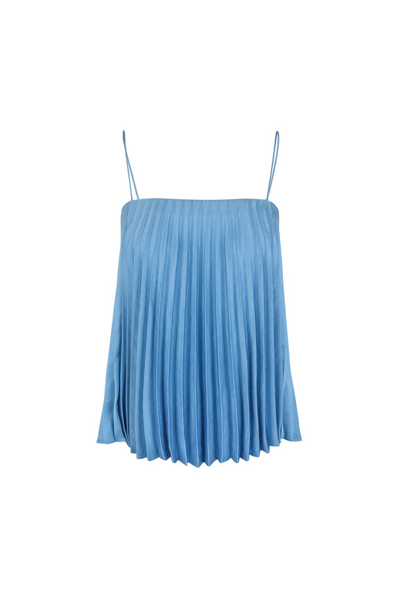 Vince Blue Pleated Sleeveless Blouse