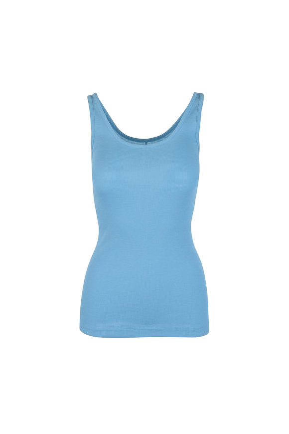 Vince Blue Jersey Scoop Tank Top