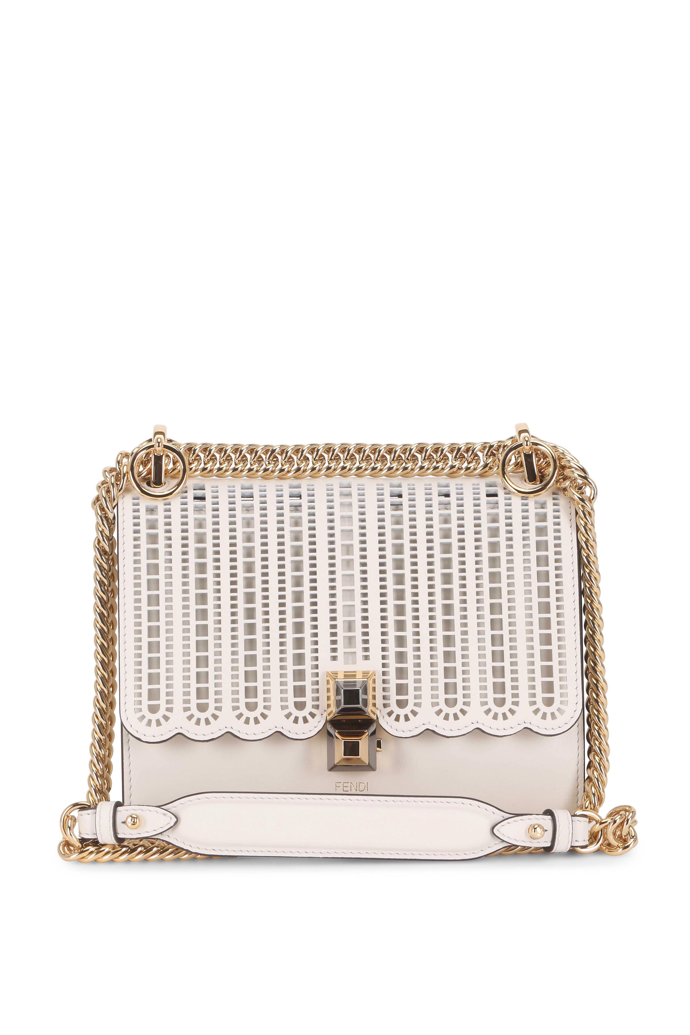 154cb7e1904d Fendi - Kan I White Laser-Cut Leather Chain Small Bag